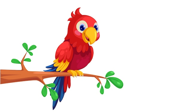 Dibujos animados lindo guacamayo sentado en la rama