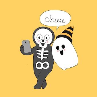 Dibujos animados lindo halloween fantasma y esqueleto selfie vector.