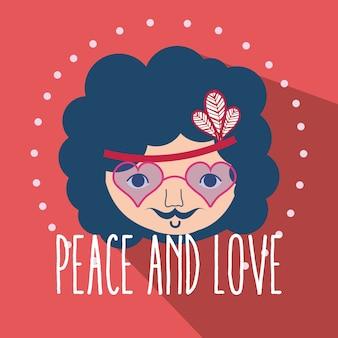 Dibujos animados lindo hippie