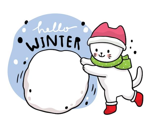 Dibujos animados lindo invierno, gato jugando bola de nieve.