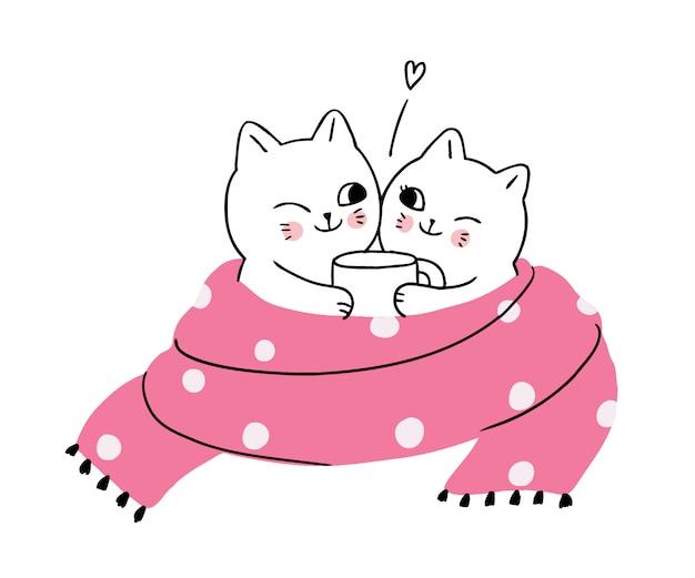 Dibujos animados lindo invierno, gatos tomando café