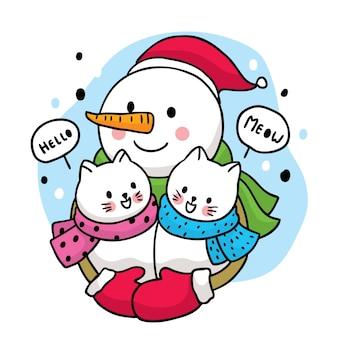 Dibujos animados lindo invierno, muñeco de nieve abrazando a dos gatos blancos.