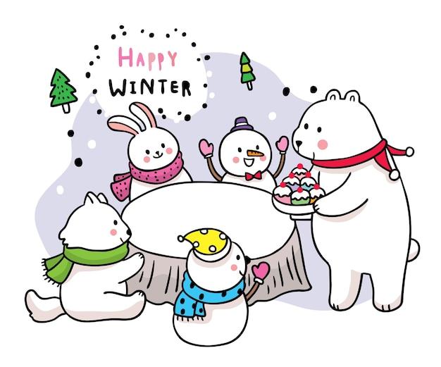 Dibujos animados lindo invierno, oso y conejo y zorro y fiesta de helado de muñeco de nieve.