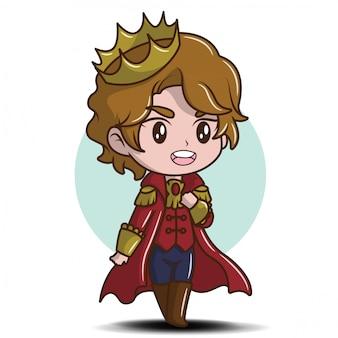 Dibujos animados lindo joven príncipe