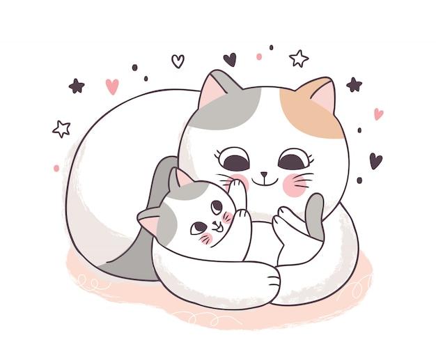 Dibujos animados lindo madre y bebé gatos abrazando