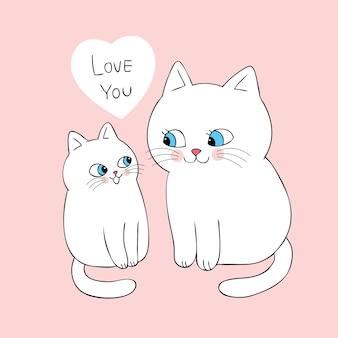 Dibujos animados lindo mamá y bebé gato vector.