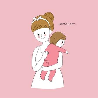 Dibujos animados lindo mamá y bebé eructar vector.