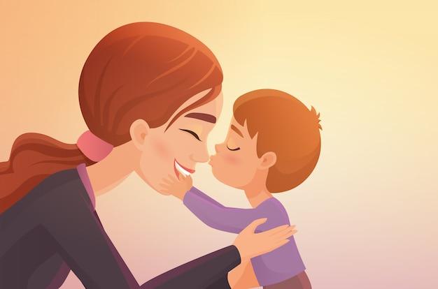 Dibujos animados lindo niño besa a su madre feliz
