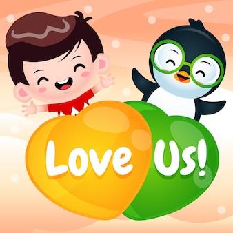 Dibujos animados lindo niño y pingüino volando con globo de amor