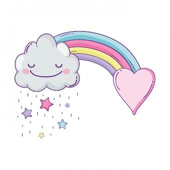 Dibujos animados lindo nube y arco iris