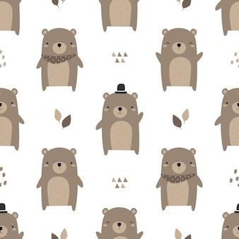 Dibujos animados lindo oso de peluche doodle de patrones sin fisuras