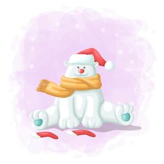 Dibujos animados lindo oso polar con caja de regalo feliz navidad ilustración