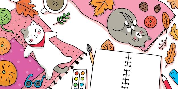 Dibujos animados lindo otoño, gatos de vista superior durmiendo en la alfombra.