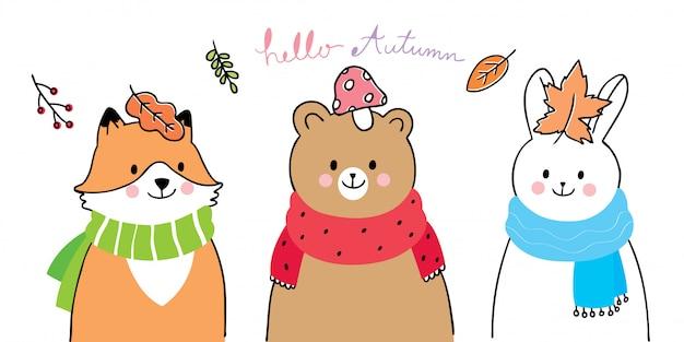 Dibujos animados lindo otoño, zorro, oso y conejo amigos sonriendo.