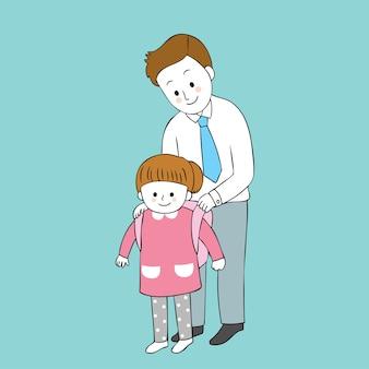 Dibujos animados lindo padre e hija vector.