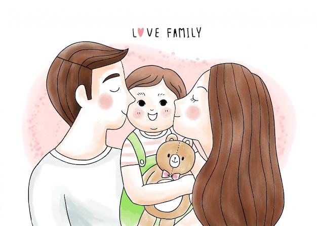 Dibujos animados lindo padre y madre besan y abrazan a nuestra muñeca bebé y oso
