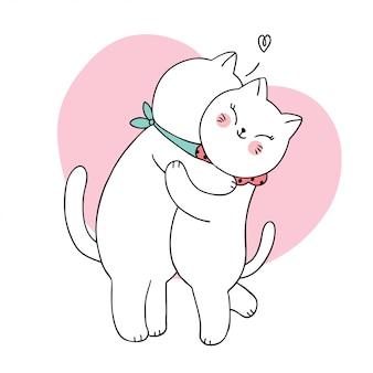 Dibujos animados lindo par gatos blancos abrazando