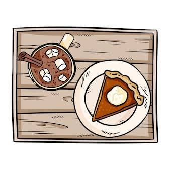 Dibujos animados lindo pastel de calabaza rebanada y chocolate caliente de cacao