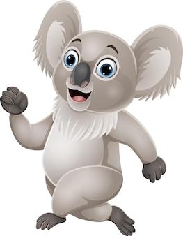 Dibujos animados lindo pequeño koala corriendo