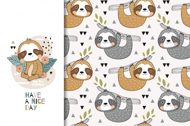 Dibujos animados lindo perezoso tarjeta de felicitación para niños y conjunto de patrones sin fisuras. dibujado a mano ilustración de diseño.