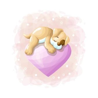 Dibujos animados lindo perro durmiendo en el vector de ilustración de globo de amor