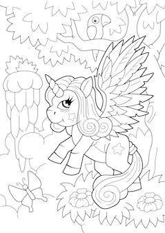 Dibujos animados lindo pony unicornio libro para colorear ilustración divertida