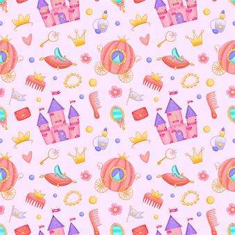 Dibujos animados lindo princesa castillo carro de patrones sin fisuras