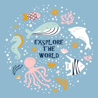 Dibujos animados lindo pulpo, ballena, caballito de mar, peces.
