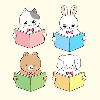 Dibujos animados lindo regreso a la escuela animales libro de lectura.