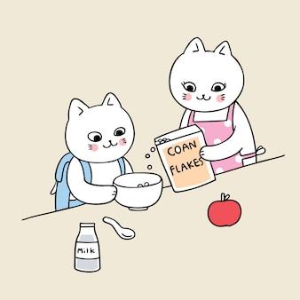 Dibujos animados lindo regreso a la escuela gato desayunando