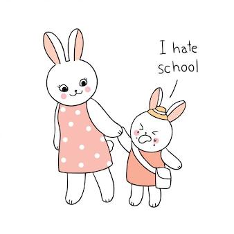 Dibujos animados lindo regreso a la escuela madre y bebé conejo caminando a la escuela.