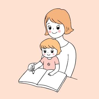 Dibujos animados lindo regreso a la escuela madre y bebé escribiendo