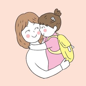 Dibujos animados lindo regreso a la escuela madre e hija besándose.