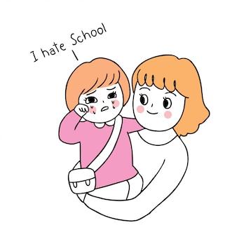 Dibujos animados lindo regreso a la escuela madre e hija llorando.