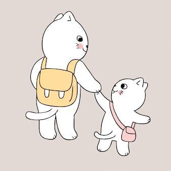 Dibujos animados lindo regreso a la escuela madre y gato van a la escuela
