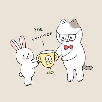 Dibujos animados lindo regreso a la escuela maestro y estudiante gato obtener recompensa