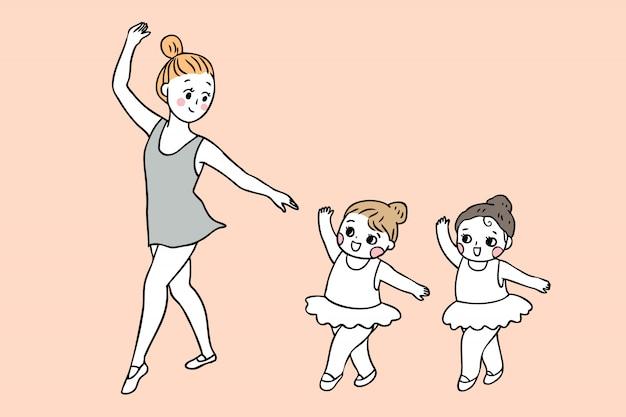 Dibujos animados lindo regreso a la escuela maestro y estudiantes en clase de ballet