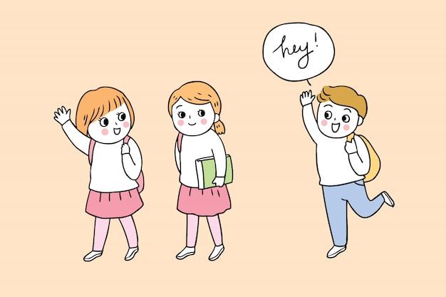 Dibujos animados lindo regreso a la escuela niño y niña.