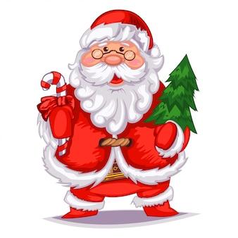 Dibujos animados lindo santa claus con árbol de navidad y bastón de caramelo.