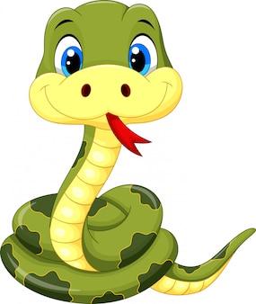 Dibujos animados lindo serpiente verde