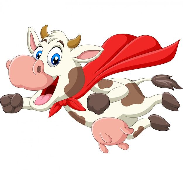 Dibujos animados lindo superhéroe vaca volando