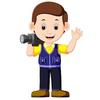 Dibujos animados lindo un camarógrafo