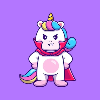 Dibujos animados lindo unicornio drácula