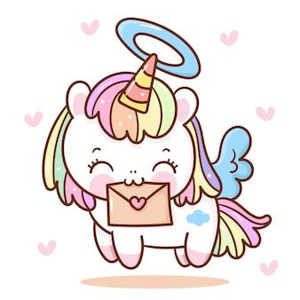 Dibujos animados lindo unicornio pegaso con carta de amor para el día de san valentín