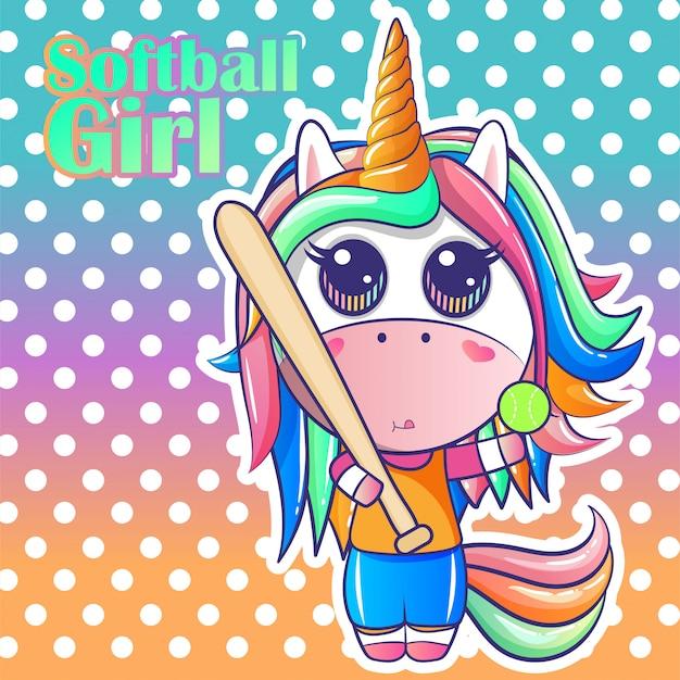 Dibujos animados lindo unicornio de softbol