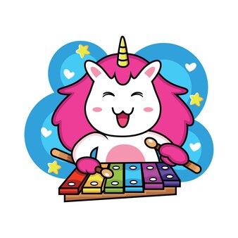 Dibujos animados lindo unicornio tocando música