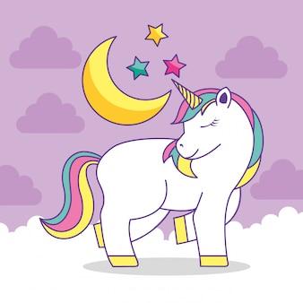 Dibujos animados lindo unicornio