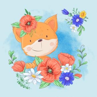 Dibujos animados lindo zorro en una corona de amapolas rojas y acianos