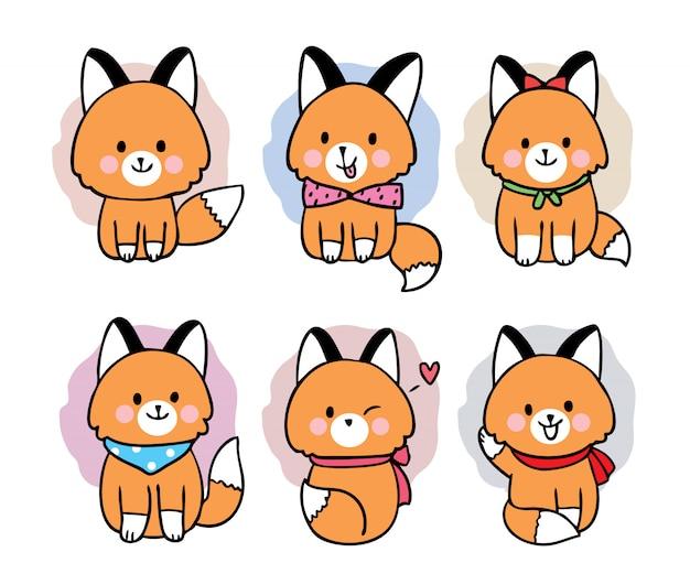 Dibujos animados lindo zorro dulce
