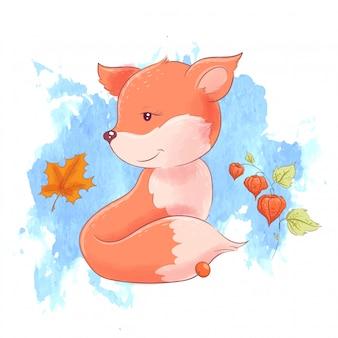 Dibujos animados lindo zorro y hojas de otoño